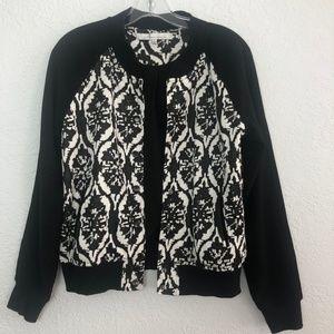Black & White Free Patterned Jacket Lined Moto